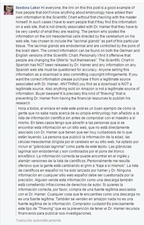 Nueva Medicina Germanica NMG Hamer Leyes Biologicas 5LB Articulo Grupo Facebook Ilsedora Laker